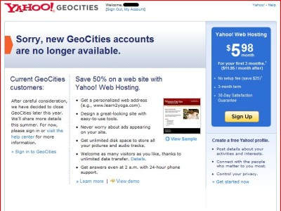 Geocities Closure